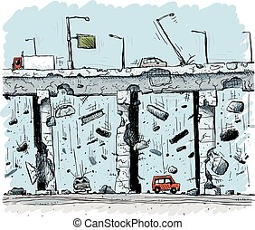 Elevated Highway Collapse - Concrete and steel fall from an...