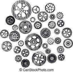 scribbled cogwheels and gears - black scribbled cogwheels...