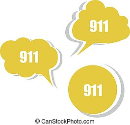 911 on modern banner design template set of stickers,...