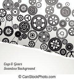gearwheel mechanism background with torn paper, vector