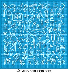 Health care and medicine doodle icon set Vector illustration...