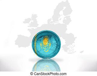 euro coin with kazakh flag on the european union map...