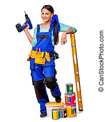 Woman builder with construction tools. - Woman builder...