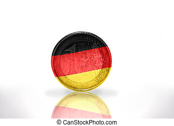 euro coin with german flag on the white background