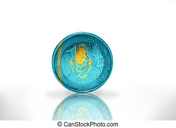 euro coin with kazakh flag on the white background