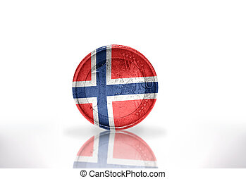 euro coin with norwegian flag on the white background