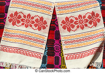 Belorussian towels with traditional geometric patterns -...