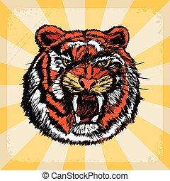 vintage background with tiger