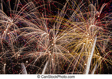 Fireworks - fiesta of red, blue, white, and gold