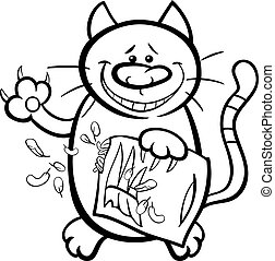 cat with pillow coloring page - Black and White Cartoon...