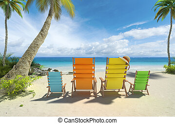 Beach family - 3D rendering of four chairs in big and small...