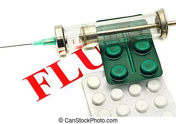 enfermedad, alarma, -, píldoras, jeringuilla, encima,...