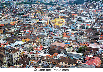 Historic Quito, Ecuador - View from above of the historic...