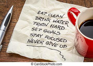healthy lifestyle tips on napkin