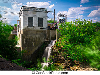 Old Hydro-Electric Power Generating Station - An old, small...