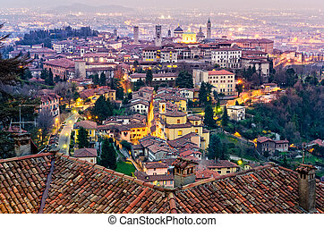 Scenic view of Bergamo old town cityscape at sunset, Italy,...