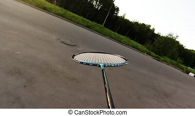 Badminton court, camera on rocket