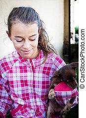 女孩, 小狗, 狗
