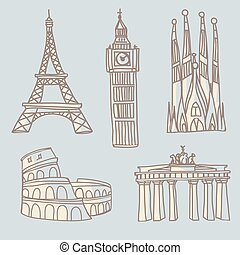 Travel landmarks doodle - Doodle drawings of famous...