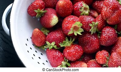 organic strawberries - Fresh ripe organic strawberries in a...