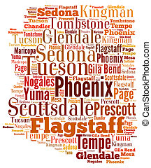 Word Cloud showing cities in Arizona - Word Cloud in the...