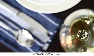 home table setting - Simple home table setting with flowers,...