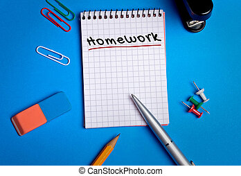 Homework word on notebook page