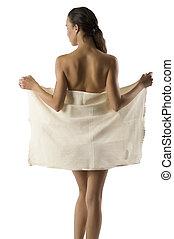 beauty girl taking off towel
