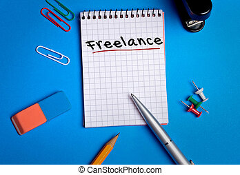 Freelance word on notebook page