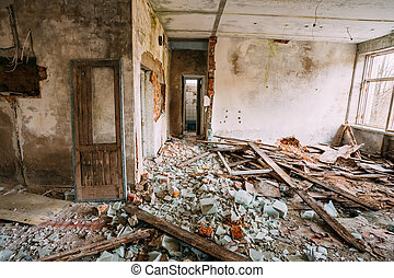 Dilapidated Abandoned House In Chernobyl Resettlement Zone...