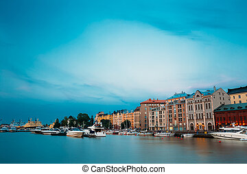 Embankment In Helsinki At Summer Evening, Finland. Town...