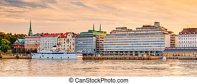Embankment In Helsinki At Summer Sunset Evening, Finland -...