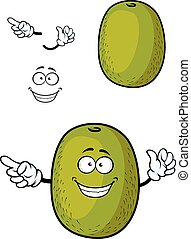 Happy cartoon kiwi fruit character with smiling face