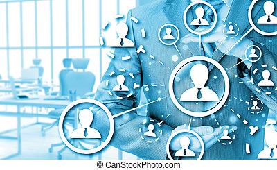 proteja, social, conexão, conceito,