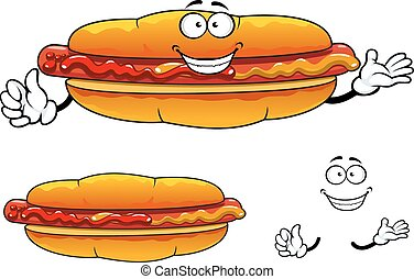Cartoon grilled fast food hot dog character - Joyful hot dog...