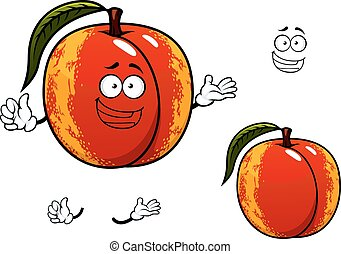 Nectarine fruit with leaf cartoon character - Funny ripe...