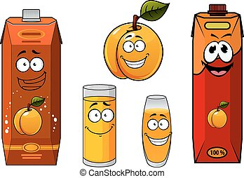 Apricot juice containers, glasses and fruit cartoon characters