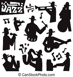 jazz musicians - icons set - jazz musicians - set vector...