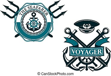 Retro voyager and seafarer nautical badges or emblems with...