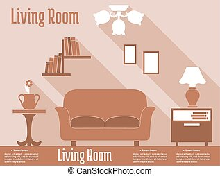 Living room interior design in flat style