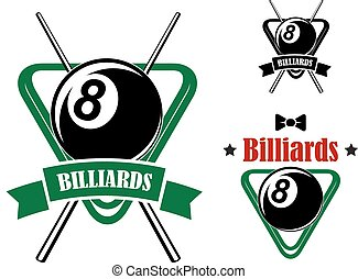 Pool emblems with balls, cues, triangle racks - Billiards or...