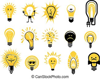 Cartoon light bulbs icons and objects