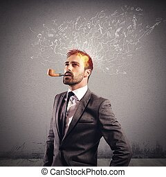Creative brain - Businessman with a creative brain and...