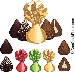 Truffle chocolate candies set of isolated vector...