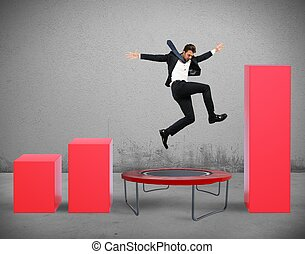 Jump between statistics - Businessman jumps on the...