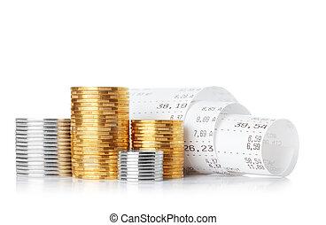 Dinheiro, registo, papel, recibo, cheque,