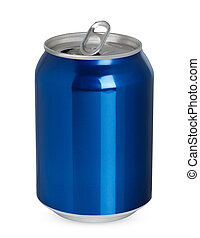 Aluminum can isolated - Aluminum can, open and closed,...
