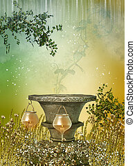 Fantasy landscape in the forest with pedestal and lamps