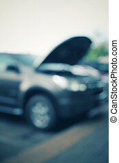 Blurred of repair service station