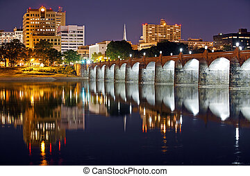 Harrisburg Pennsylvania at Night - Harrisburg, Pennsylvania...